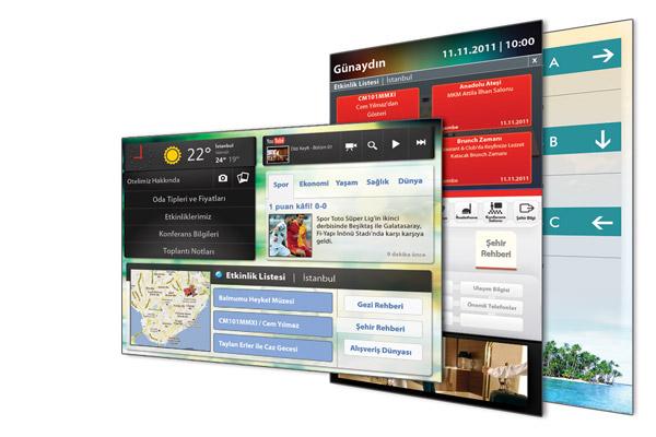 Otellerde misafirlere Gezi rehberi, hava durumu tahminleri, dünya saatleri, döviz bilgileri ekranlarda verilebilir.